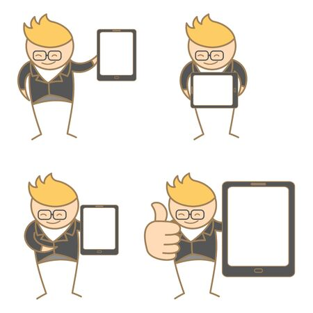 cartoon character set of man with tablet Vector