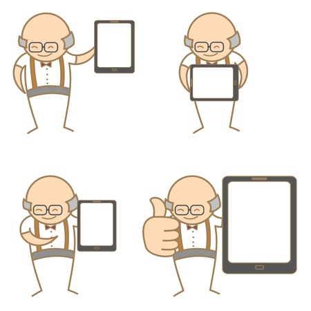 cartoon character set of old man with tablet Vector