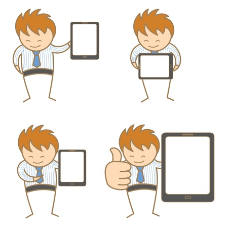 hand holding sign: cartoon character set of man with tablet Illustration