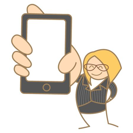 cartoon character set of woman hold mobile Vector
