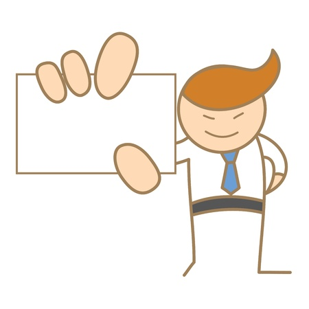happy business man: cartoon character of man holding name card