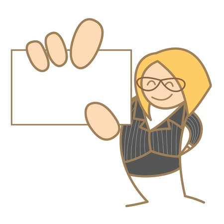 hand holding paper: cartoon character of woman holding name card Illustration