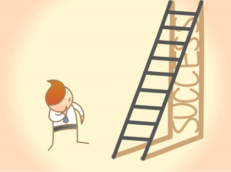 cartoon character of business man question on success ladder Vector