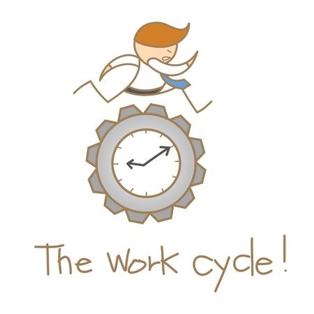 cartoon character of business man running over the clock gear