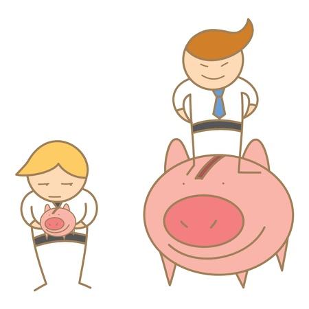 cartoon character of  rich and poor business men Stock Vector - 17896996