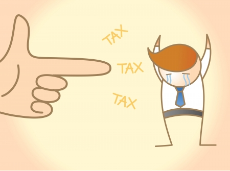 taxman: cartoon character of business man crying for tax robbery