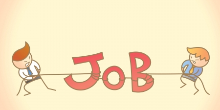 cartoon character of two business men pulling job