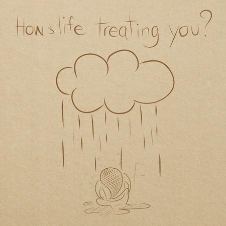 hard rain: cartoon drawing of man sitting wet under the rain