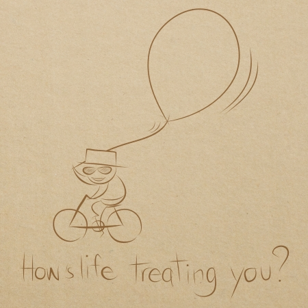 life is good: cartoon drawing of a man happy riding bicycle with a big balloon Stock Photo