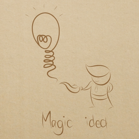 cartoon drawing of a business man smiling with his magic lamp and idea Stock Photo - 17897007
