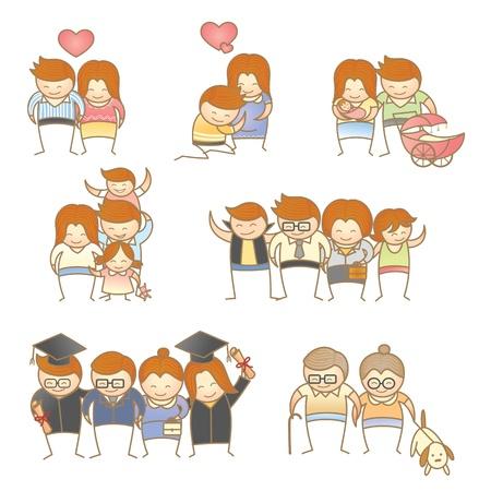 家族の進行中の漫画のキャラクターのセット