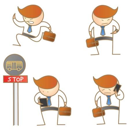 cartoon character of business man activities  Illustration