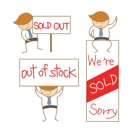 carrying out: cartoon character of business man show sold out sign set Illustration