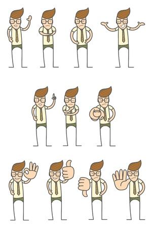 set of cartoon character various poses Vector