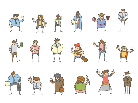 woman slim: set of cartoon character various poses Illustration