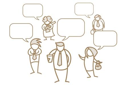 ビジネスの男性と女性のスピーチの泡の漫画のキャラクター