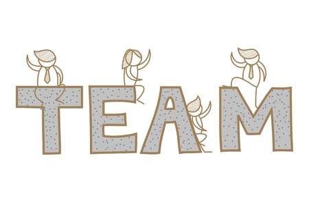 cartoon character of business men and women on team word