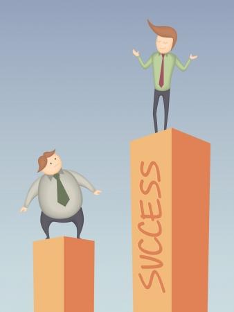 cartoon character of business man success