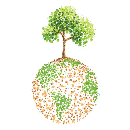 dot painting tree on earth Vector