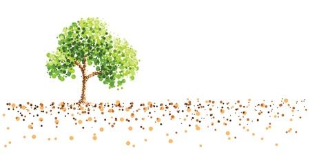 木と地面のドット絵の背景