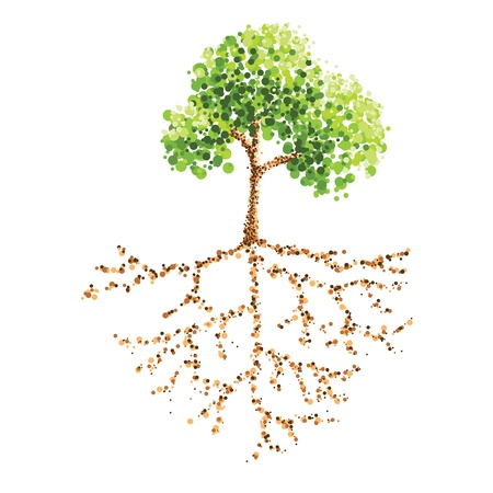 dot painting tree and root Vector