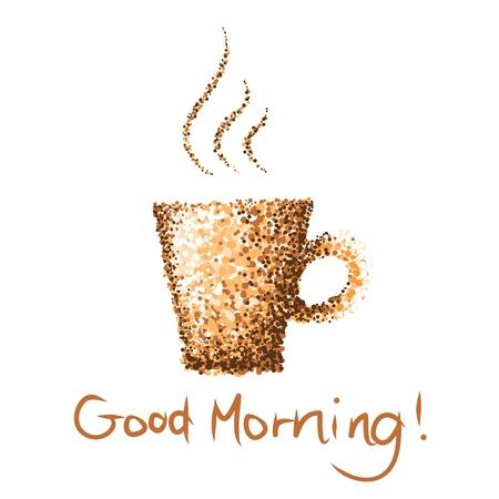 아침: 커피 한잔 좋은 아침 도트 페인트
