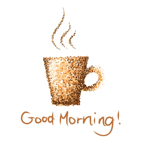 good break: taza de caf� de la ma�ana buena pintura punto