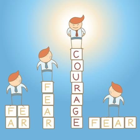 vaincu: courage peur de l'homme d'affaires caract�re concept dessin anim�