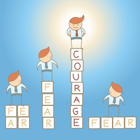 beat the competition: fear courage business man cartoon character concept