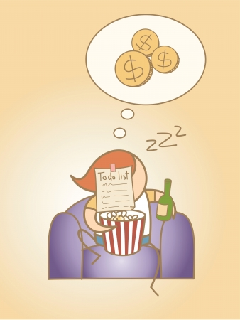 loser: lazy man day dream rich cartoon character concept Illustration