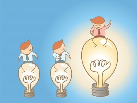 cartoon character concept of think big Illustration