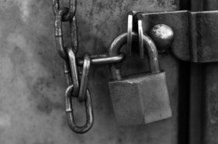 locked: chain lock door outside Stock Photo