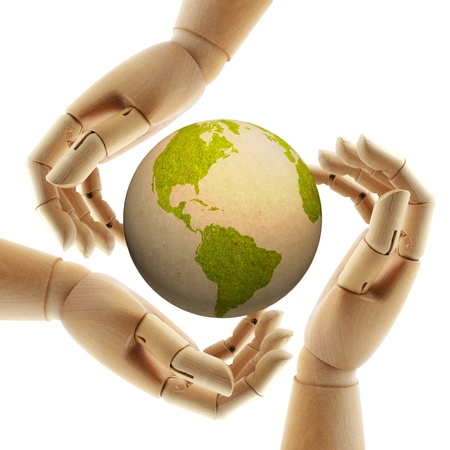 environmentally: wood hand protect paper earth  Stock Photo
