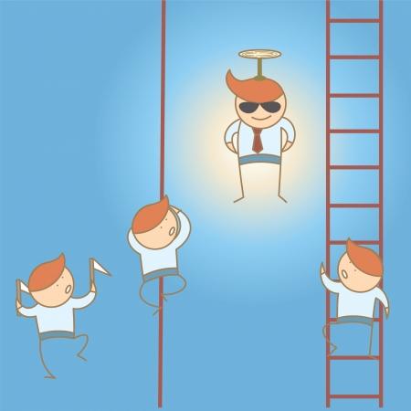 business man win lead high cartoon character concept