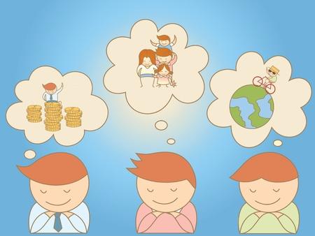 long term: hombres de negocios so�ando con objetivo en la vida Vectores