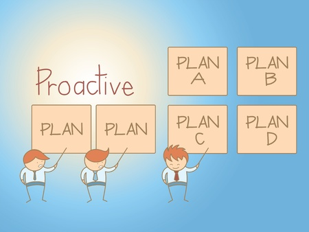strategic planning: business man proactive solution plan cartoon character