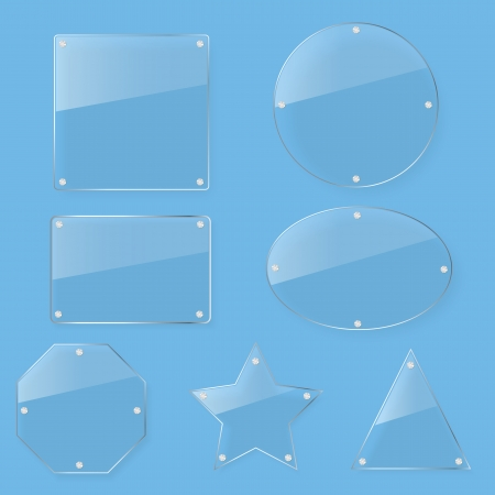 clear tint glass plate set Vector