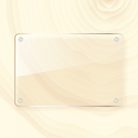 rectangular glass plate on wood background Vector