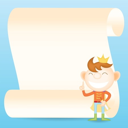 parchment paper: prince with parchment paper cartoon character