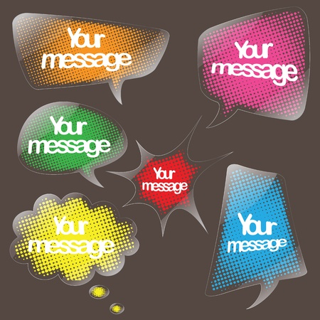 speech bubble clear sticker set Vector