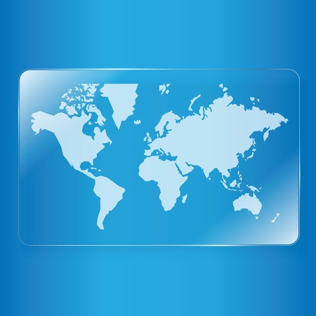 simplified: world map on glass plate background