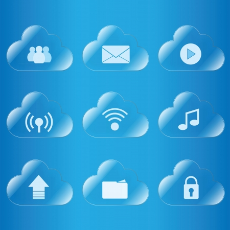 cloud computing icon glass Stock Vector - 20175357