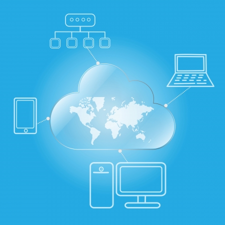 cloud computing worldwide via desktop laptop mobile and network Illustration