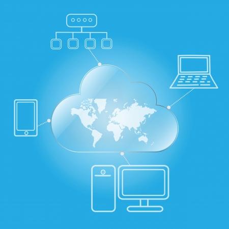 cloud computing worldwide via desktop laptop mobile and network Illustration