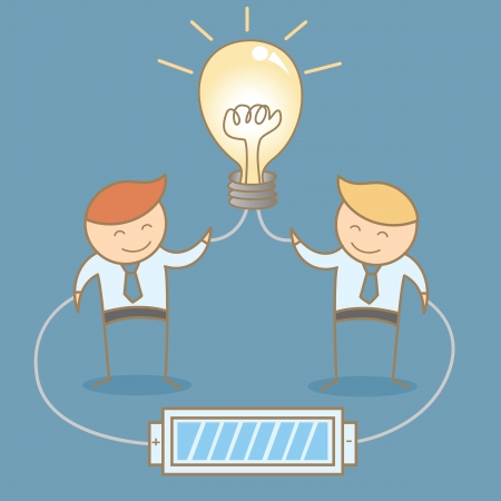 two businessman share and brainstorming idea together Stock Vector - 20175355