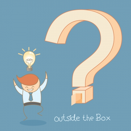 outside box: business man success idea outside the box Illustration