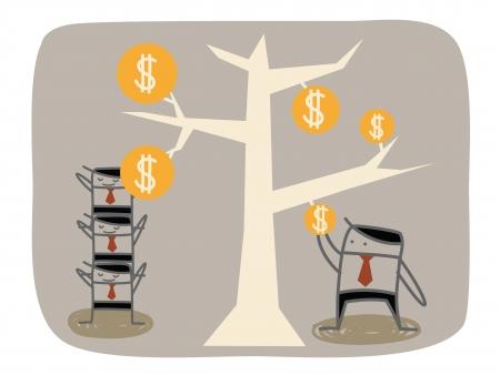 チームワークのビジネスマンより多くのお金を得る  イラスト・ベクター素材