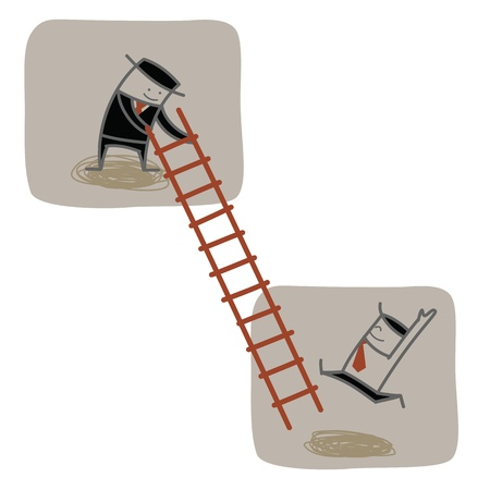businessman help another to climb ladder up  Ilustração