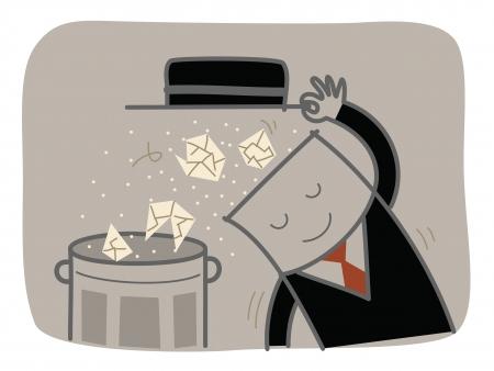 Geschäftsmann klar Müll aus dem Kopf