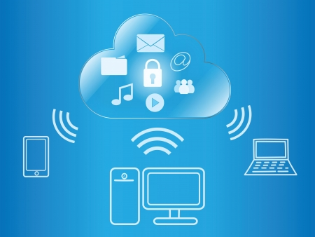 cloud computing wireless access to digital content Stock Vector - 20175270